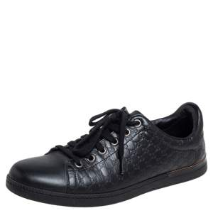 Gucci Black Microguccissima Leather Low Top Sneakers Size 38