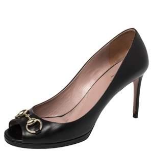 Gucci Black Leather Horsebit Peep Toe Platform Pumps Size 38.5