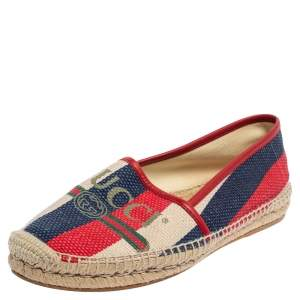 Gucci Multicolor Canvas Sylvie Espadrille Flats Size 38.5