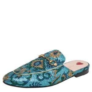 Gucci Multicolor Brocade Fabric Princetown Horsebit Mules Size 37.5