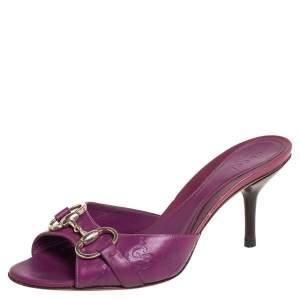 Gucci Purple Leather Hollywood Horsebit Open Toe Slide Sandals Size 36