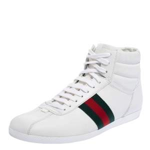 Gucci White Leather Web Detail High Top Sneakers Size 39