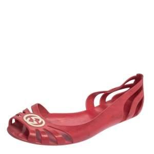 Gucci Pink Jelly Interlocking GG Marola Jelly Ballet Flats Size 38