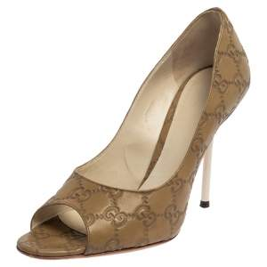 Gucci Guccissima Grey Leather Horsebit Peep Toe Pumps Size 38