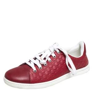 Gucci Red Microguccissima Leather Low Top Sneakers Size 36