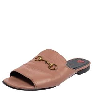 Gucci Beige Leather Malaga Horsebit Slides Sandals Size 37