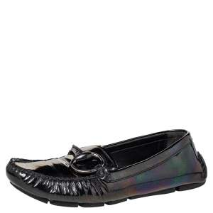 Gucci Multicolor Iridescent Patent Leather Horsebit Slip On Loafers Size 38