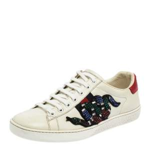 Gucci White Leather Ace Snake Crystal Embellished Low Top Sneakers Size 36.5