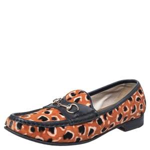 Gucci Brown Leopard Print Calf Hair And Black Leather Horsebit Slip On Loafers Size 39