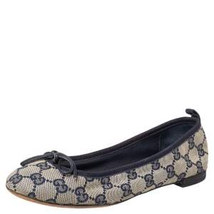 Gucci Beige/Blue GG Canvas And Leather Bow Ballet Flats Size 36