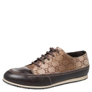 Gucci Beige/Brown Supreme Canvas And Leather Cap Toe Low Top Sneakers Size 39.5