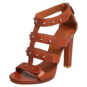 Gucci Tan Leather Sigourney Studded Sandals Size 37