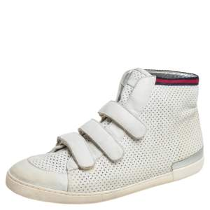Gucci White Leather High Top Sneakers Size 36.5