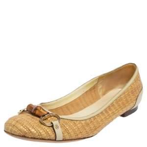 Gucci Beige Raffia Bamboo Horsebit Ballet Flats Size 41