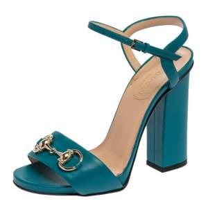 Gucci Blue Leather Horsebit Ankle Strap Open Toe Block Heel Sandal Size 35