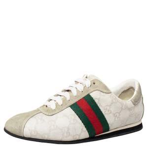 Gucci Cream Suede And Leather Low Top Sneakers Size 37