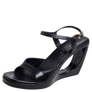 Gucci Black Leather Cut Out Wedge Heel Sandals Size 37
