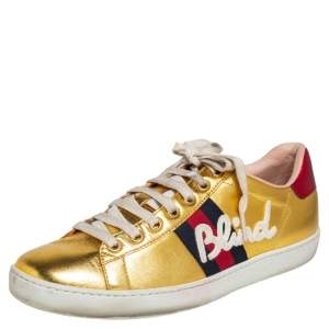 Gucci Gold Leather Ace Blind For Love Blind Web Detail Low Top Sneakers Size 37.5