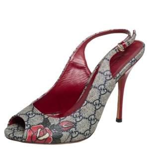 Gucci Grey Supreme Canvas Slingback Sandals Size 38.5