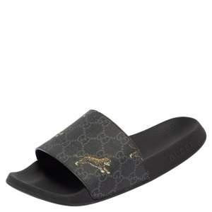 Gucci Black GG Supreme Tiger Flat Slides Size 38.5