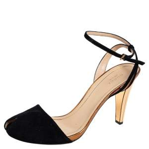 Gucci Black/Gold  Suede And Leather Ankle Strap Sandals Size 40.5