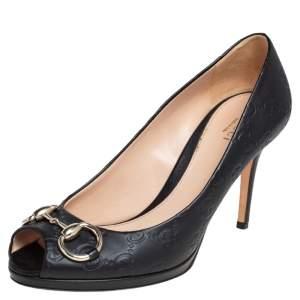 Gucci Black Guccissima Leather New Hollywood Horsebit Peep Toe Pumps Size 37.5