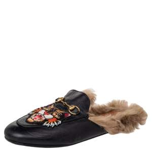 Gucci Black Tiger Embroidered Leather And Fur Princetown Horsebit Mule Sandals Size 37