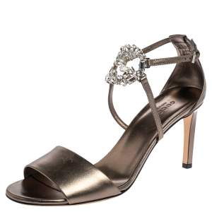 Gucci Metallic Olive Green Leather Crystal Embellished GG Ankle Strap Sandals Size 39