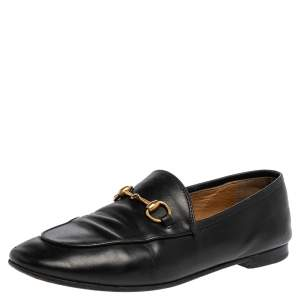Gucci Black Leather Jordaan Loafers Size 37.5