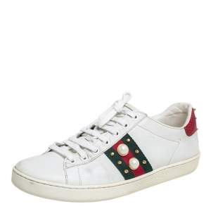 Gucci White Leather New Ace Web Faux Pearl Embellished Low Top Sneakers Size 37.5