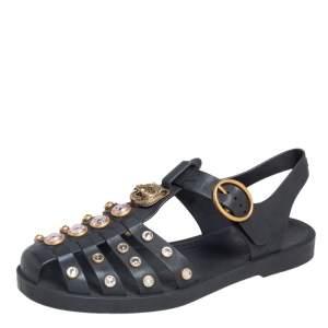Gucci Black Rubber GG Crystal Embellished Fisherman Sandals Size 36