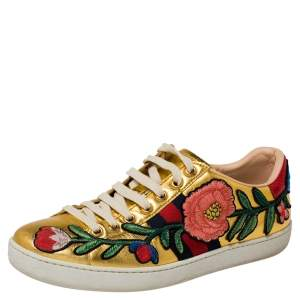 Gucci Gold Leather Ace  Lace Up Sneakers Size 37