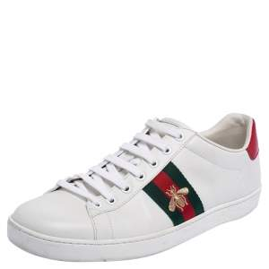 Gucci White Leather Embroidered Bee Ace Low Top Sneakers Size 41