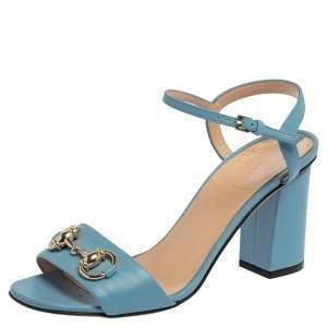 Gucci Light Blue Leather Horsebit Open Toe Ankle Strap Sandals Size 36