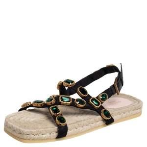 Gucci Black/Green Canvas Grosgrain Espadrille Flat Sandals Size 41