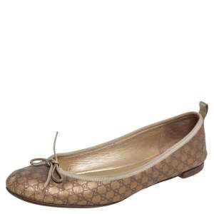 Gucci Gold Guccissima Leather Bow Ballet Flats Size 40
