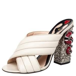 Gucci Off White Leather Webby Kingsnake Block Heel Slide Sandals Size 39