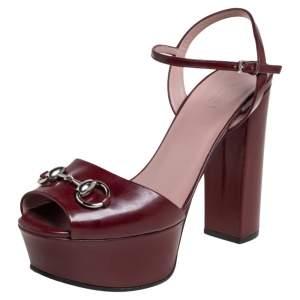 Gucci Burgundy Leather Horsebit Ankle Strap Platform Sandals Size 38