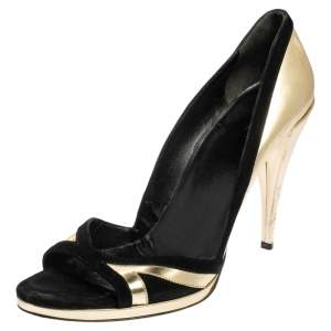 Gucci Gold/Black Suede and Leather Open Toe Pumps Size 40