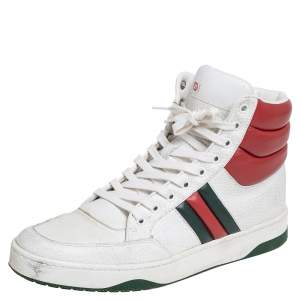 Gucci Tri Color Leather Web Lace High-Top Sneakers Size 41
