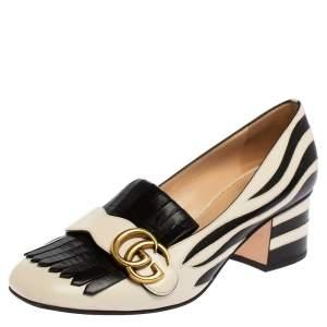 Gucci Black/White Zebra Detail Leather Marmont Pumps Size 37.5