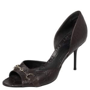 Gucci Brown Guccissima Leather Horsebit D'orsay Peep Toe Pumps Size 38