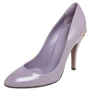 Gucci Light Lilac Patent Leather Charlotte Horsebit Pumps Size 39