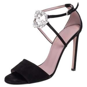 Gucci Black Suede Interlocking G Crystal Embellished Sandals Size 40