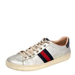 Gucci Silver Python Embossed And Leather Ace Sneakers Size 39.5