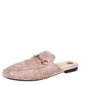 Gucci Pink Lace Princetown Mule Sandals Size 38.5