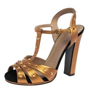 Gucci Gold/Black Leather Jacqueline Studded Sandals Size 39