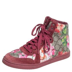 Gucci Pink Blooms Print Coated Canvas and Suede High Top Sneakers Size 38