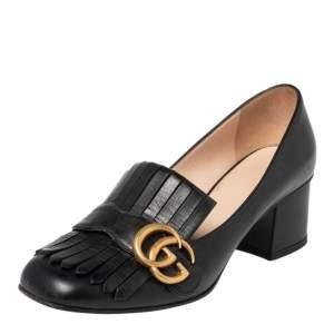 Gucci Black Leather GG Fringe Detail Loafer Pumps Size 37