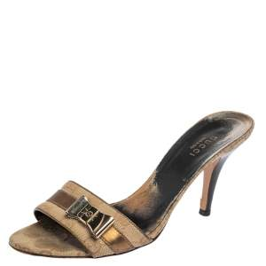 Gucci Beige Canvas and Leather Open Toe Bow Mules Size 37
